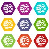 Striped planet icon set color hexahedron Stock Photo