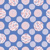 Striped Polka Dot Circle Seamless Vector Pattern. Hand Drawn Dotty Background Illustration for Trendy Packaging Wrap, Retro 1950s Style Fashion Print vector illustration