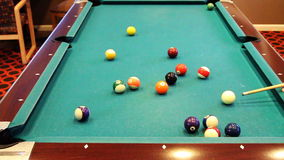 Striped Pool Ball Into Corner Pocket Shot stock video