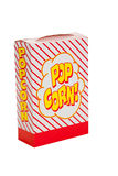 A striped popcorn box on white royalty free stock photography