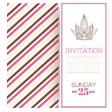 Striped princess invitation template Royalty Free Stock Image