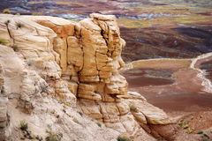 Striped purple sandstone formations of Blue Mesa badlands in Petrified Forest National Park Stock Image