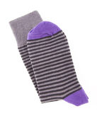 Striped purple sock Royalty Free Stock Images