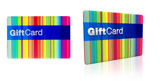 Striped rainbow colours gift card with silver emboss Royalty Free Stock Image