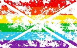 Striped rainbow texture gay pride flag lgbt community. Vector symbol gay-pride. Symbol grunge-design style design element for flye Stock Photo