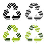Striped recycle symbols Stock Photo