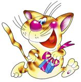 Striped red cat with a gift. Stock Images