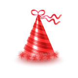 Striped Red Party Hat with Ribbon Vector Icon Stock Images