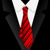 Striped red tie. And suit close up Royalty Free Stock Photography