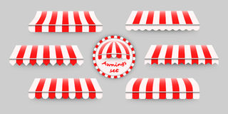 Striped, red and white awnings set. Vector illustration of six different awning templates, good design elements for shops, stores, web, advertisement Stock Photo