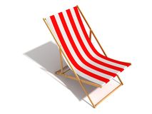 Striped red white beach chair on white background Stock Images