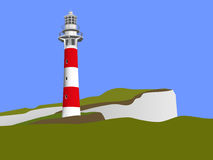 Striped red-white Lighthouse and blue sky as background. Vector illustration Royalty Free Stock Image