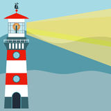 Striped red-white lighthouse. Royalty Free Stock Photo