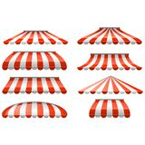 Striped red and white sunshade awning - cafe and shop awnings stock illustration