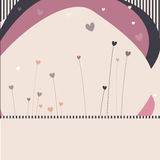 Striped retro background. With hearts Stock Photography