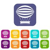 Striped retro hot air balloon icons set flat. Striped retro hot air balloon icons set vector illustration in flat style In colors red, blue, green and other Stock Photography