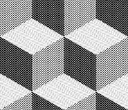 Striped Rhombuses, 3D Cubes Illusion, Vector Seamless Pattern Royalty Free Stock Photo