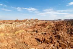 Striped rock formations in Danxia Feng, or Colored Rainbow Mountains, Zhangye, China. Striped rock formations in Danxia Feng, or Colored Rainbow Mountains, in stock photos