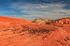 Striped Rocks On Crazy Hill In Pink Canyon, Near Fire Wave At Sunset, Valley Of Fire State Park, USA Royalty Free Stock Photography