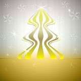 Striped round christmas tree on gold with stars Stock Images