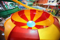Striped round chute as spiral and pool Stock Images