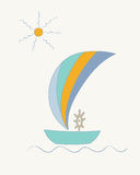 Striped sailing ship with a steering wheel under the sun. Hand drawn vector illustration of a striped sailing ship with a steering wheel under the sun Stock Photography