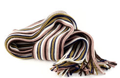 Striped scarf. Isolated on white Royalty Free Stock Images