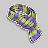 Striped Scarf Sticker. Striped scarf, sticker. Violet and green stripe pattern with shadow. Vector illustration picture royalty free illustration