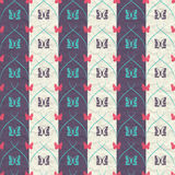 Striped seamless pattern with butterflies and vertical thick and thin oblique lines on crumpled paper. Striped seamless pattern with butterflies and vertical Royalty Free Stock Photography
