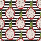 Striped Seamless Pattern. Dragon Fruit or Pitaya. Seamless Pattern with Dragon Fruit or Pitaya Whole and Cross Section on a Striped Black and White Background Stock Photography