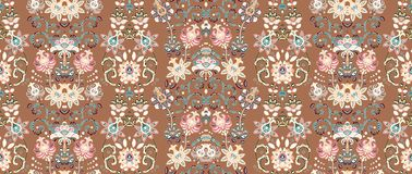 Striped seamless pattern. Floral wallpaper. Colorful ornamental border. Pink on brown stock illustration