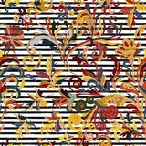 Striped Seamless Pattern. Hand Draw Floral Wallpaper. Colorful Ornamental Border