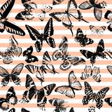 Striped seamless pattern with hand drawn butterflies stock photo