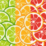 Striped seamless pattern with lime, orange and grapefruit. Tasty summer background. Yummy tropical fruits endless texture. Can be used for wallpapers, banners Royalty Free Stock Image