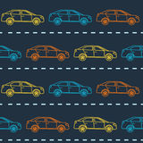 Striped Seamless Pattern With Cars Stock Photos