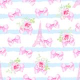 Striped seamless vector print with flower bunches, pink satin bo Royalty Free Stock Photo