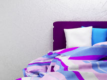 Striped sheets on the bed Royalty Free Stock Image