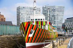 Striped ship. At albert dock Royalty Free Stock Photo