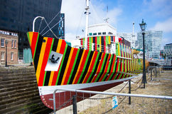 Striped ship. At albert dock Royalty Free Stock Photography