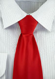 Striped shirt with red silk necktie Stock Photography
