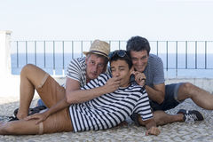 Striped shirts in summer Stock Images