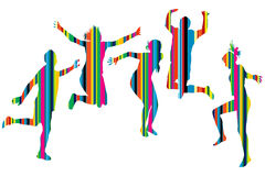 Striped silhouettes of people jumping Stock Photo