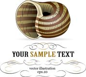 Striped snail label Royalty Free Stock Images