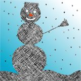 Striped snow man Stock Image