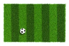 Striped soccer field texture with soccer ball, background with copy space top view - isolated on white background Royalty Free Stock Photos