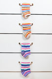 Striped socks hanging Stock Photography