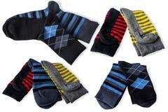 Striped socks for men. Collage Stock Photo