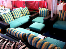 Striped Sofa. Beautiful sofas with striped design on their pillows Stock Photography