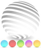 Striped spheres in 6 colors. 3d geometric orbs, balls. Generic icons, design elements. - Royalty free vector illustration Stock Images