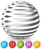 Striped spheres in 6 colors. Royalty Free Stock Image